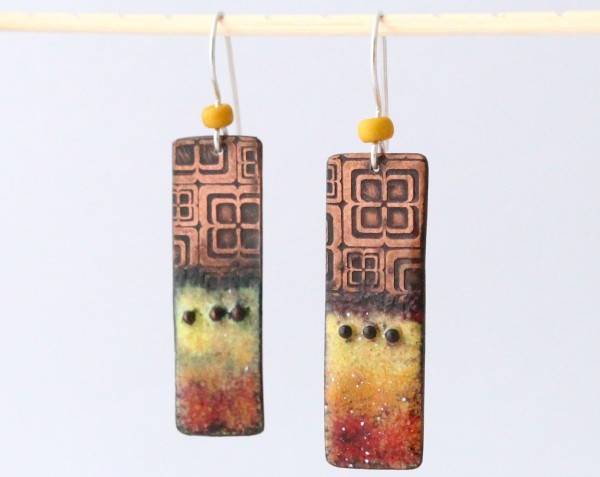 pendant earrings, autumnal colours