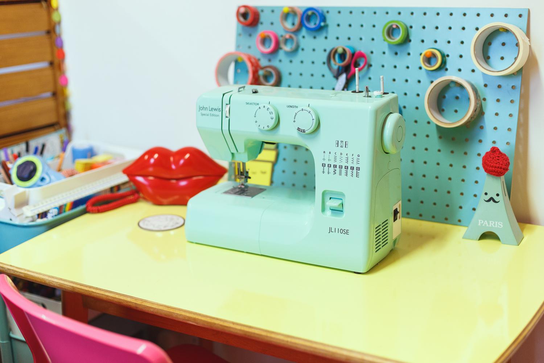 studio binky, persistence works, pastel blue sewing machine, mint sewing machine