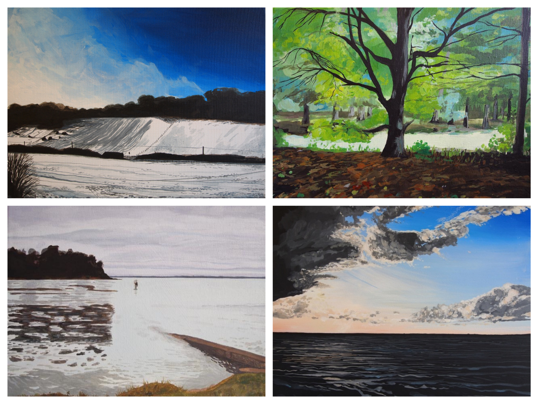 landscape paintings, isle of wight, kitty cooper, seascape, woodland, beach