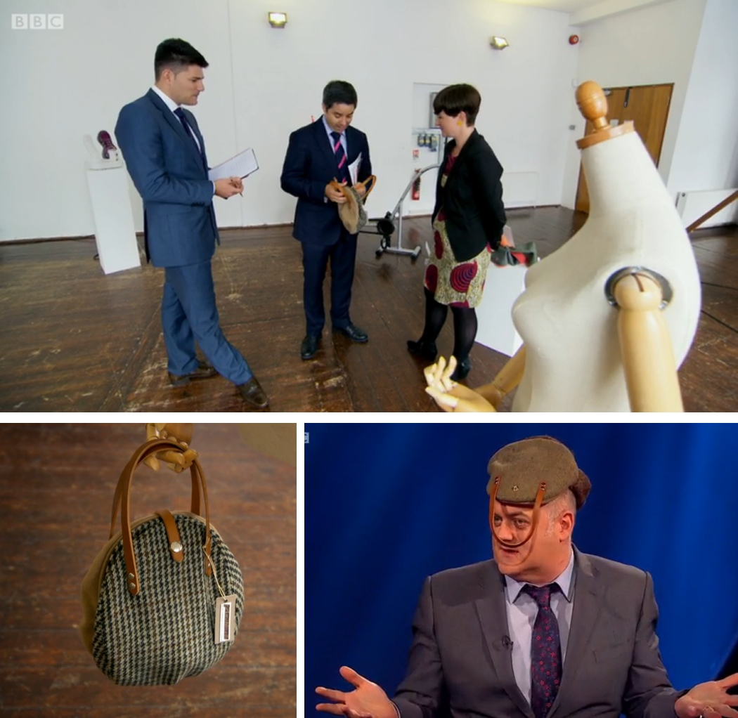flat cap handbag, the apprentice, interview with the maker, Dara O'Briain