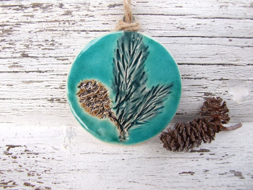 winter decoration, damson tree pottery, pine close, ceramic, tree decoration