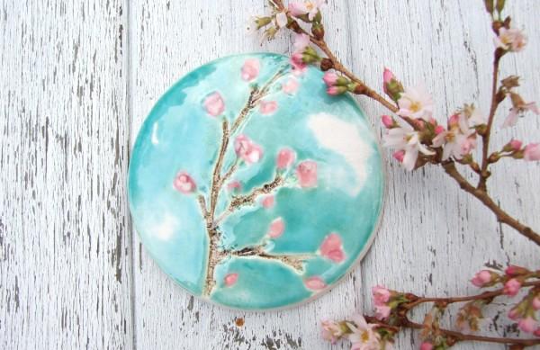 damson tree pottery, handmade ceramic coasters, cherry blossom coasters, interview
