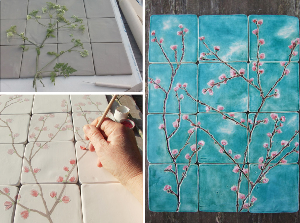 damson tree pottery, handmade ceramic tiles, cherry blossom