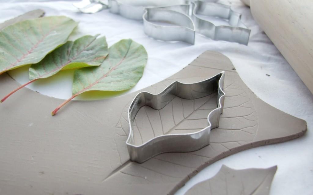 Damson Tree Pottery, making leaves