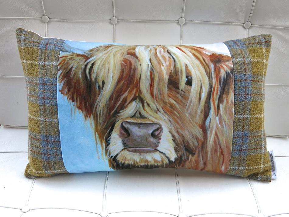 highland cow cushion, liz whiteside