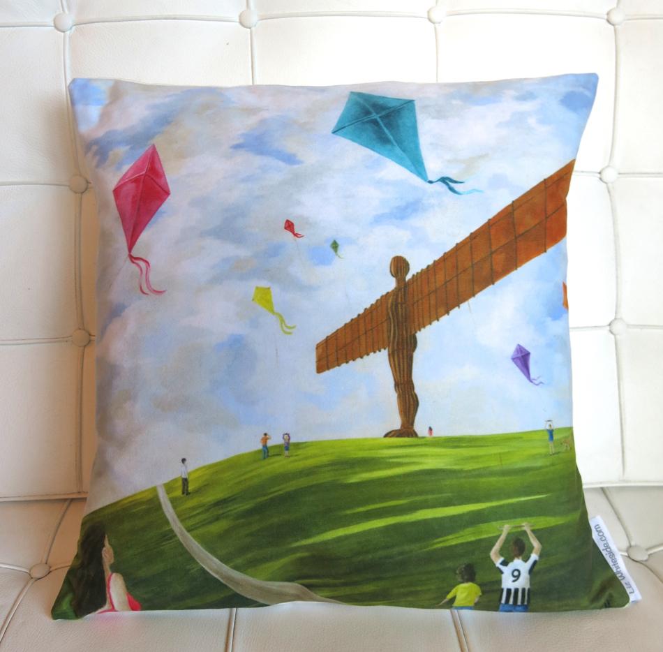 Liz whiteside cushions, angel of the north