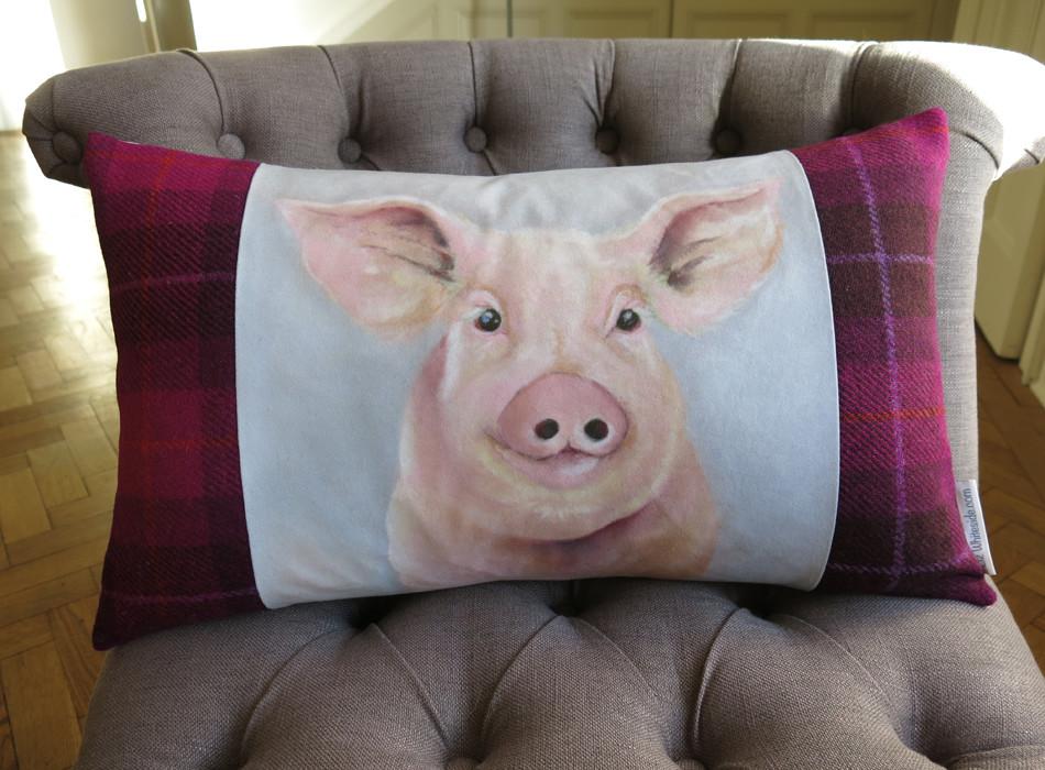 pig cushion, harris tweed