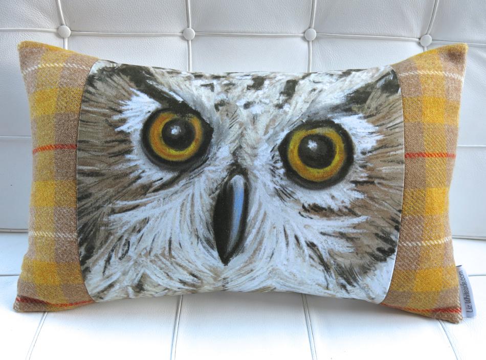 owl cushion, harris tweed,