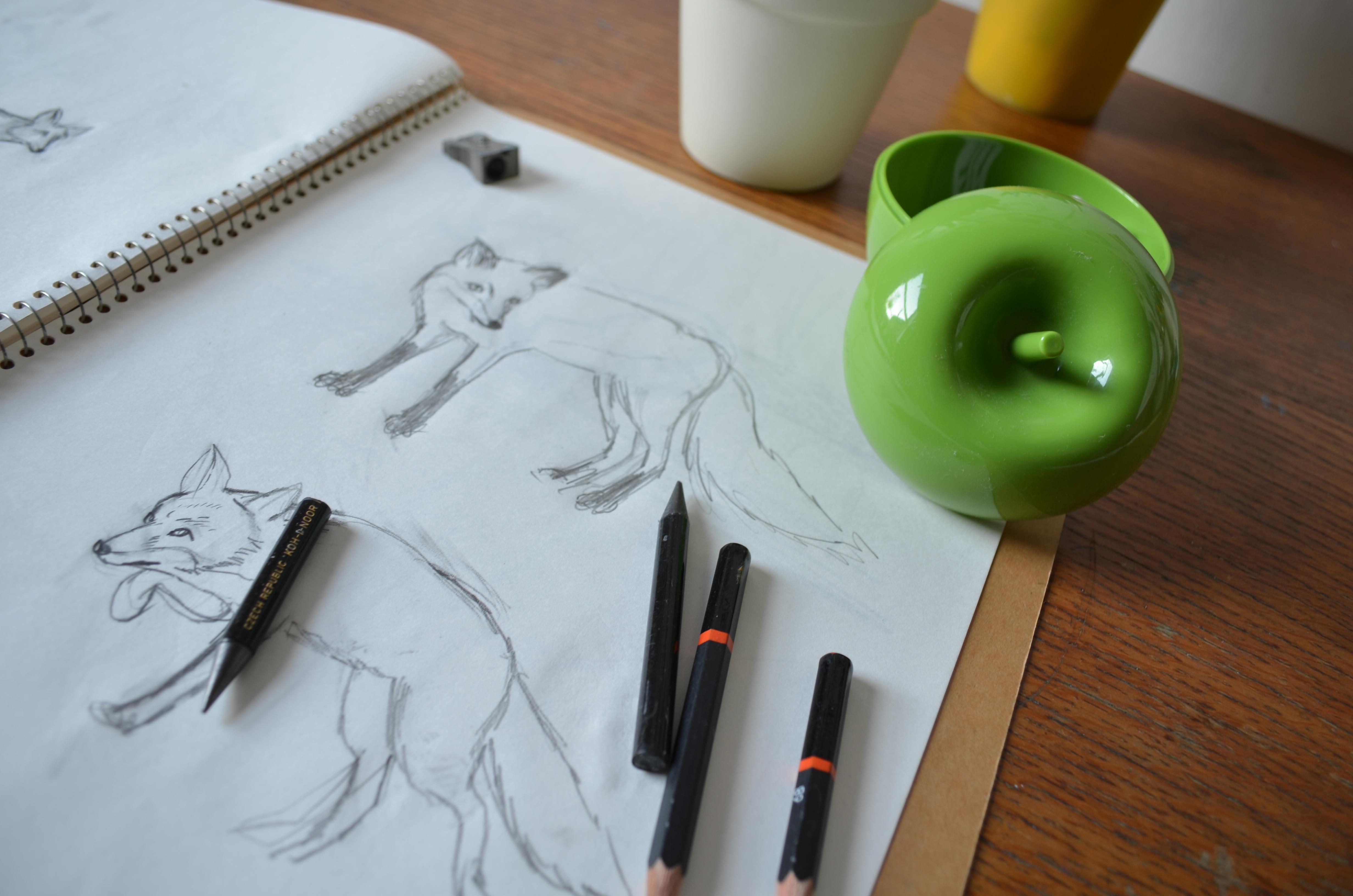 meadowlark prints, fox, lino cut print, linoprint,