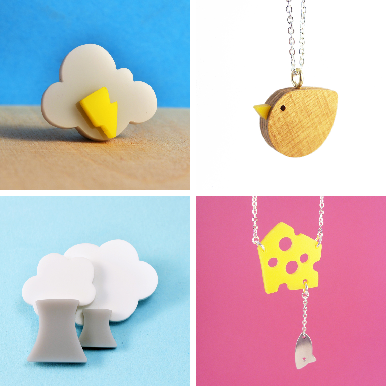 I am acrylic, cloud brooch, bird necklace, power station, cheese necklace