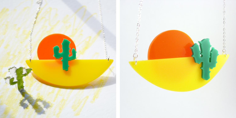 Cactus sunset necklace, I am acrylic