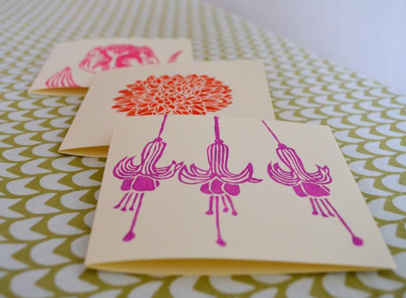 meadowlark prints, flower cards, lino cut print, linoprint,