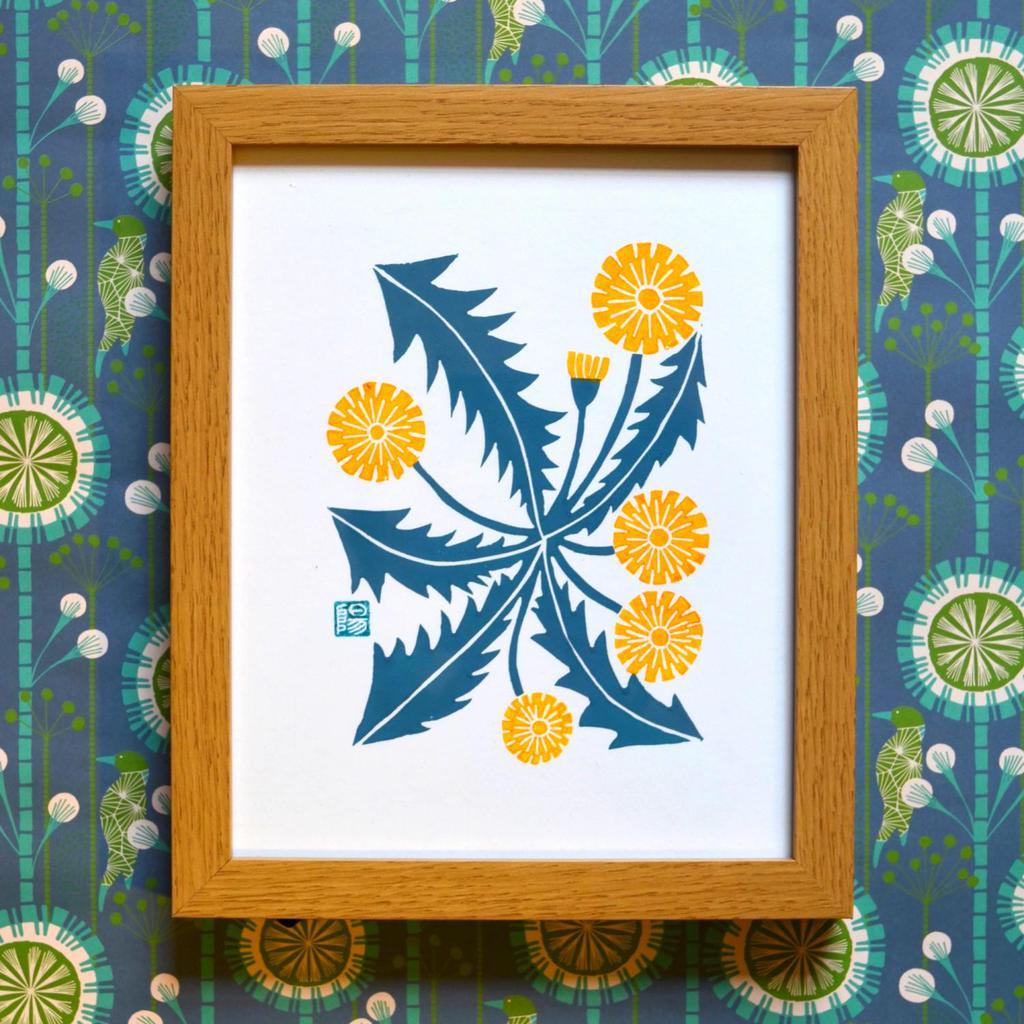 meadowlark prints, dandelion lino, lino cut print, linoprint,