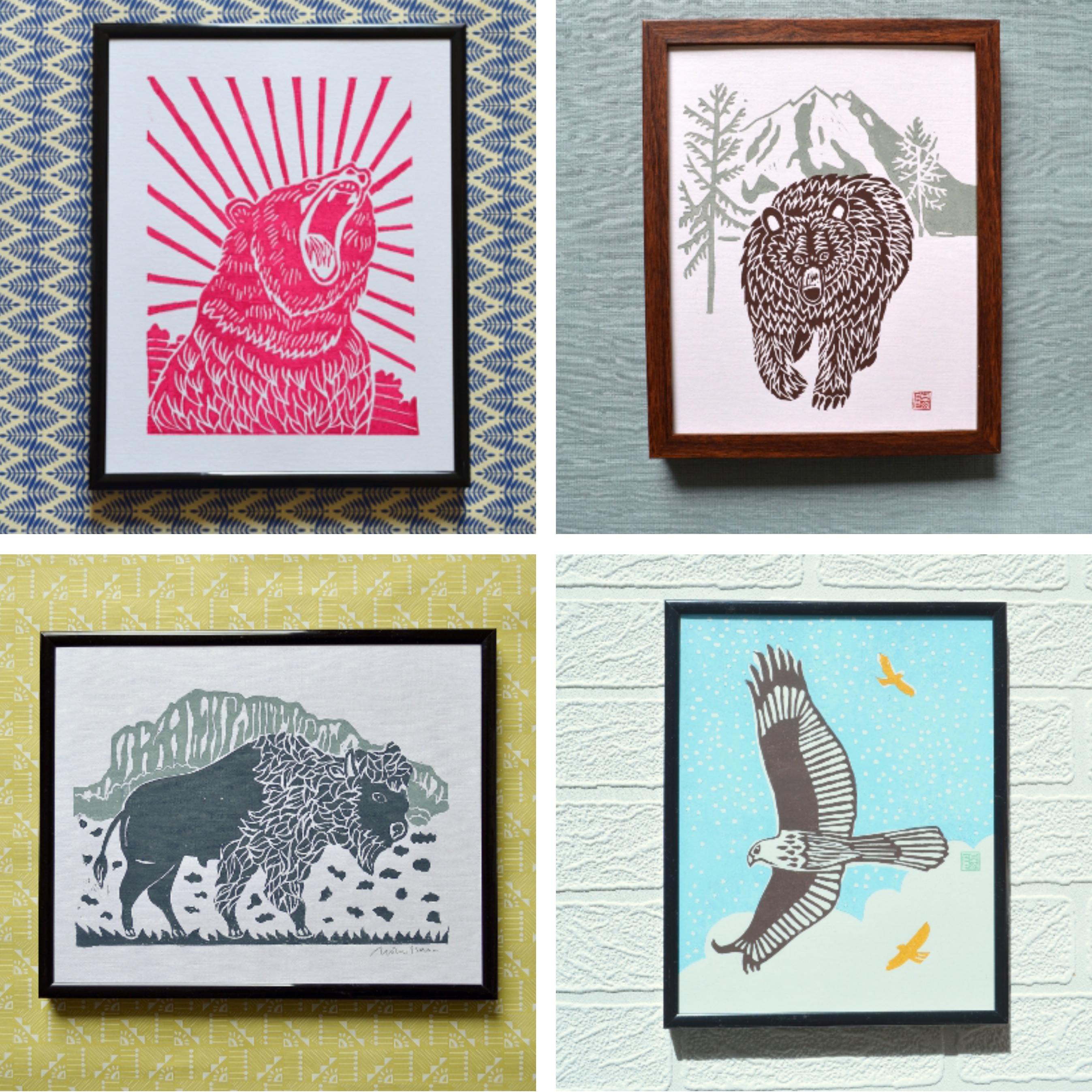 yellowstone prints, meadowlark prints, grizzly bear, bison, eagle