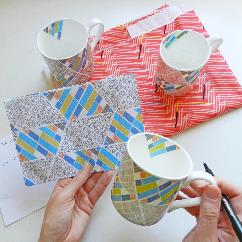 Annabel Perrin, geometric patterned mugs, ceramics,