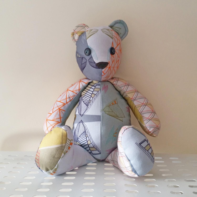 annabel perrin, keepsake bear, scrap fabric teddy bear