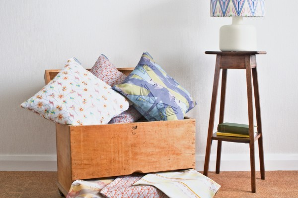 annabel perrin, cushions, lampshades, textiles, mid-century patterns, architecture influences, geometric surface pattern design