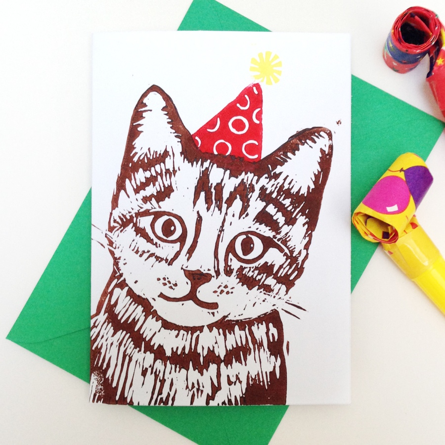 Woah there pickle, party cat, lino print