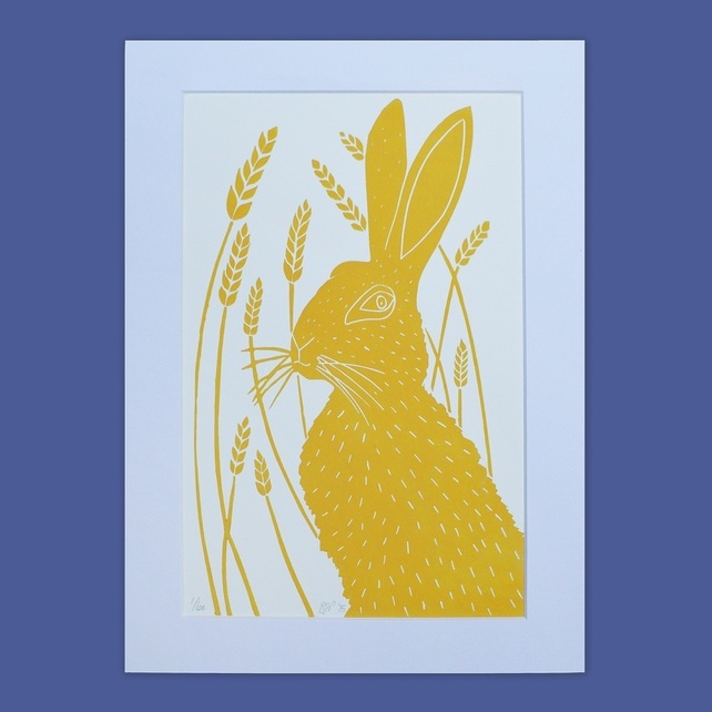 hare print, lino print, the owlery, mustard yellow