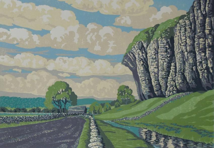 Kilnsey Cragg print, lino cut, yorkshire, British printmaker, Stuart Brocklehurst