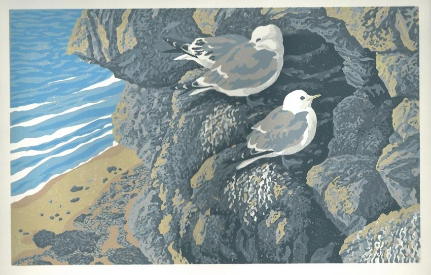 Reduction lino print, Kittiwakes, birds on a cliff print, art,