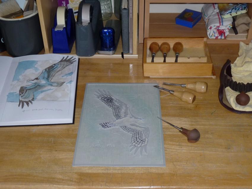 Japanes Baren, lino cut printing, lino techniques, tools