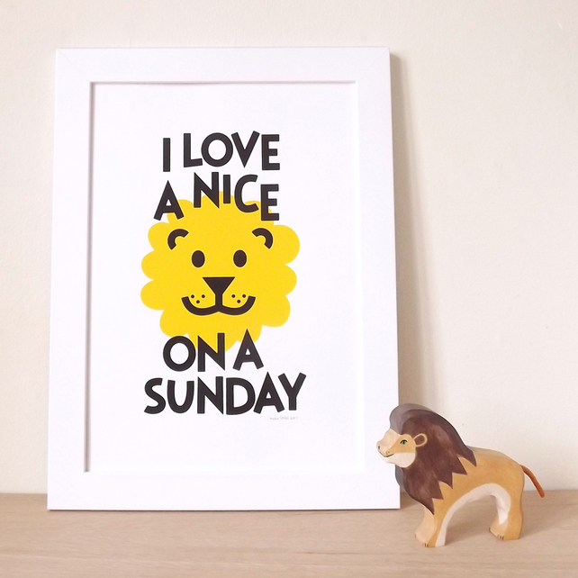 Hello Dodo, Lion on a Sunday, Lie In print, Lion screen print