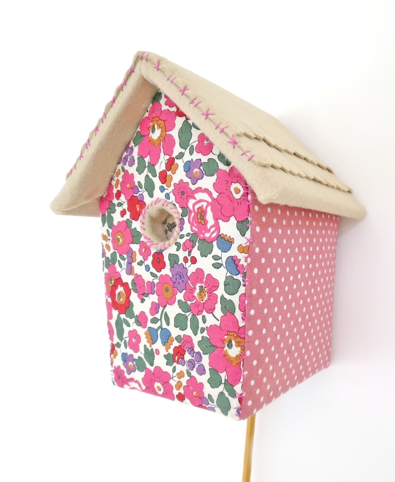 Gem and Angela are big fabric collectors and use some of their stash in their pieces, like this Liberty Print birdhouse lamp
