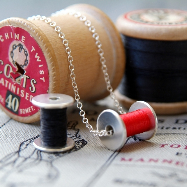 silver cotton reel necklace, rock rose jewellery