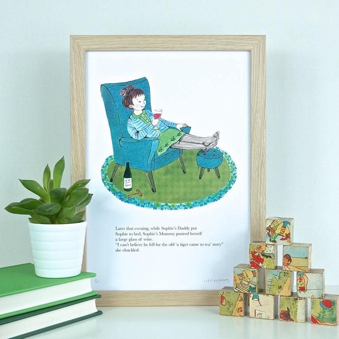 The Tiger Who Came To Tea, alternative ending, Sianuska, art print,