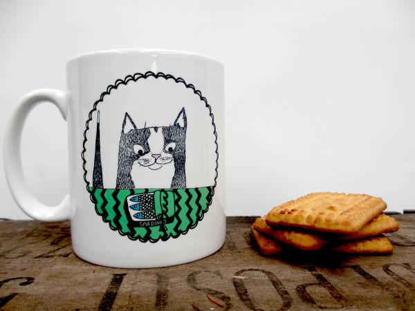 cat and sardine, illustrated mug, Boodle Boutique, bristol