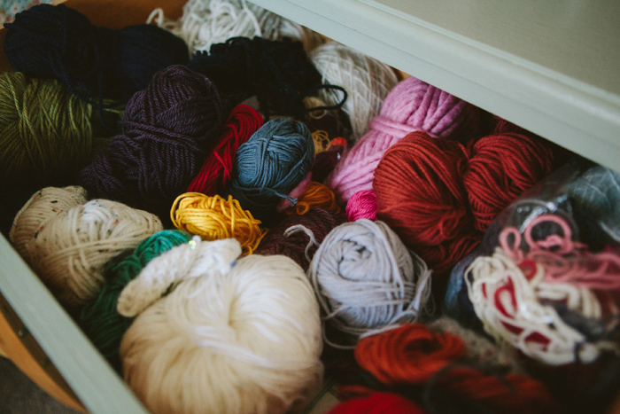revealing craft, india hobson, photography, artist's studios, crochet, yarn drawer