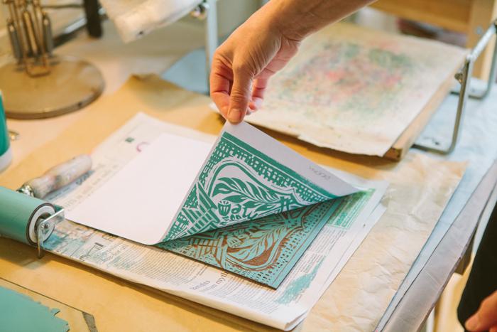 revealing craft, india hobson, photography, artist's studios, lino print, zoe badger, studio, methodology