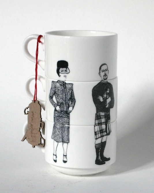 Isabella Blow, Alexander McQueen, Karl Lagerfeld, Kate Moss, ceramics, illustration, stacking cups