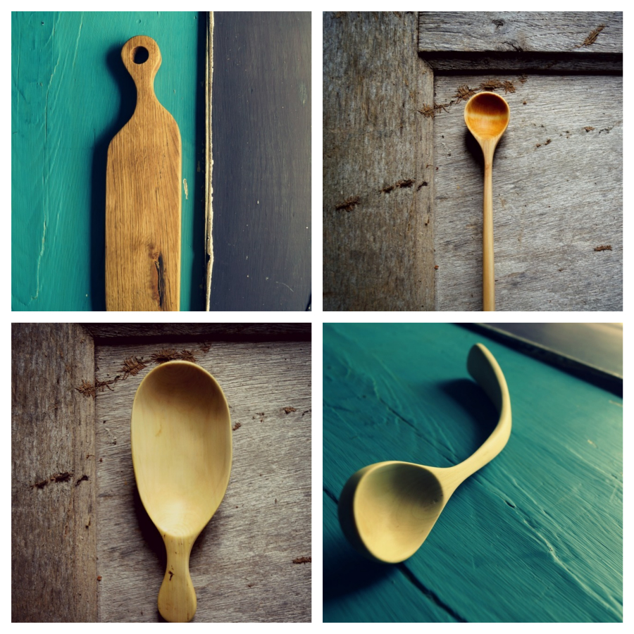 Huckleberry Young, carved spoons, hand carved utensils, wood carving UK, british woodturner, live wood