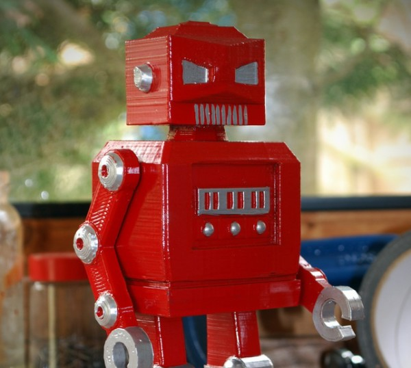 retro red robot, Roboshed