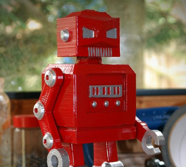 retro red robot, Roboshed