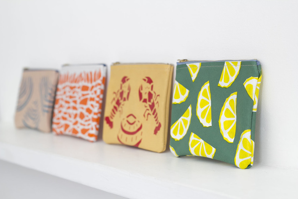 Leather zip purses, jenny sibthorp, printed purses,