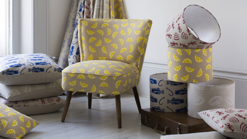 Jenny Sibthorp upholstery, lemon print fabric, chair