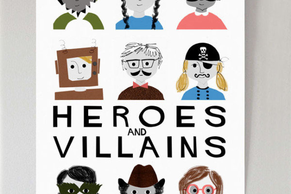 mrs eliot books, heroes and villains print, Francesca Iannaccone, illustration