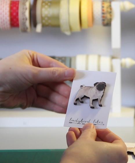 Ladybird likes animal jewellery, pug dog brooch, pug jewellery