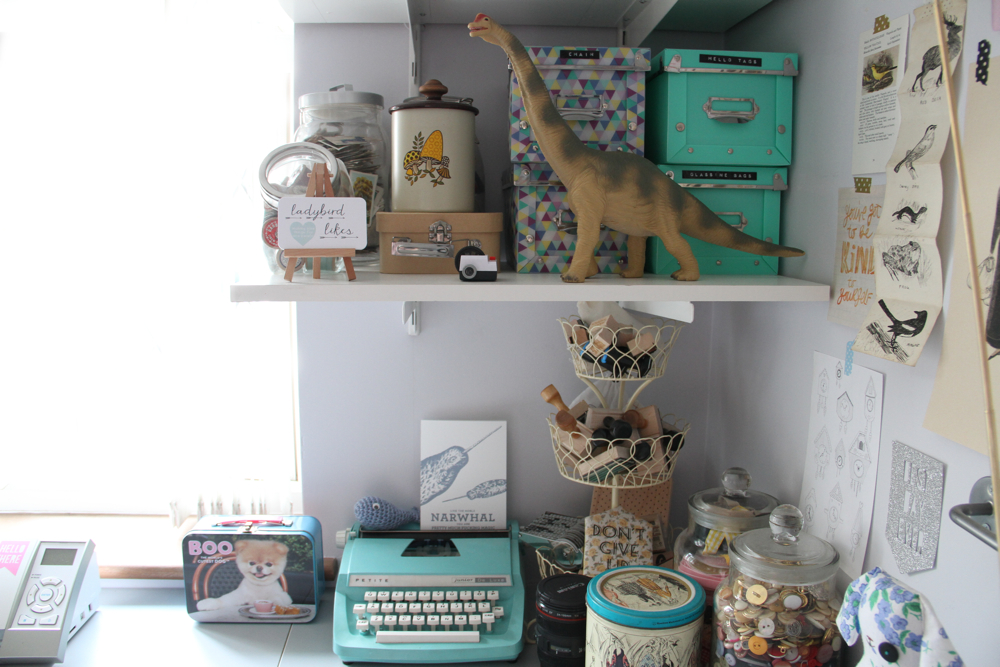 ladybird likes, British illustrators, wooden jewellery, studio, dinosaur