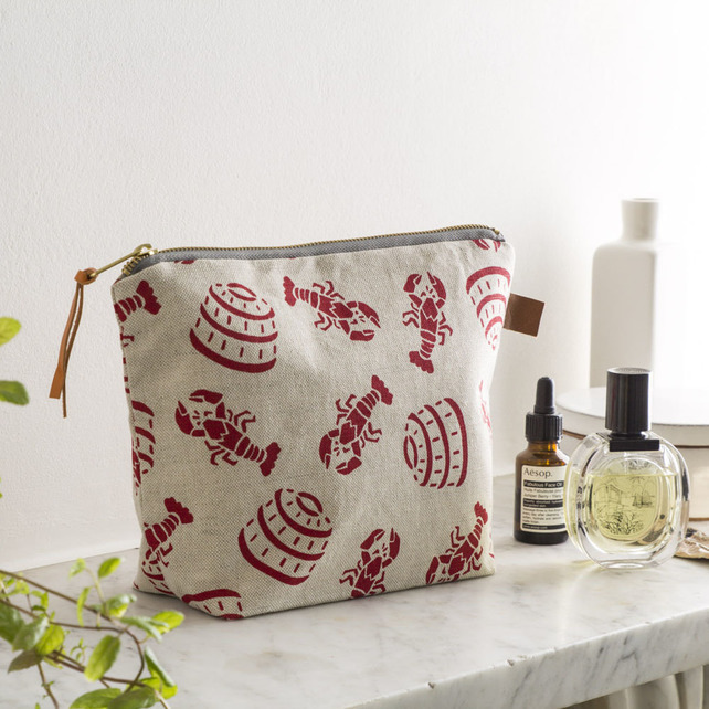 lobster pot print, jenny sibthrop, handmade washbag