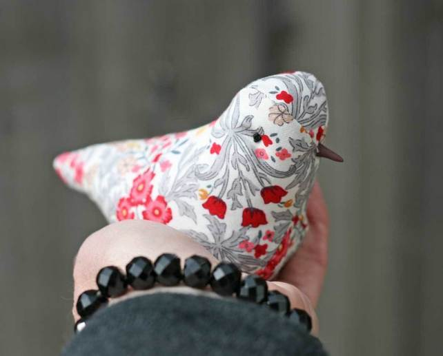 textile bird sculpture, liberty print, big bird little bird, lavender