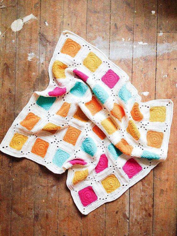 crochet picnic blanket, granny square