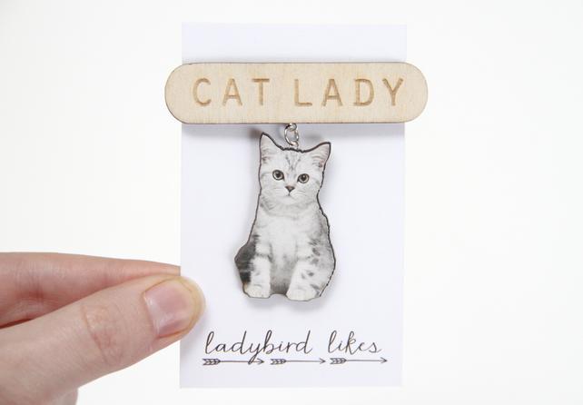 Ladybird likes animal jewellery, cat lady brooch