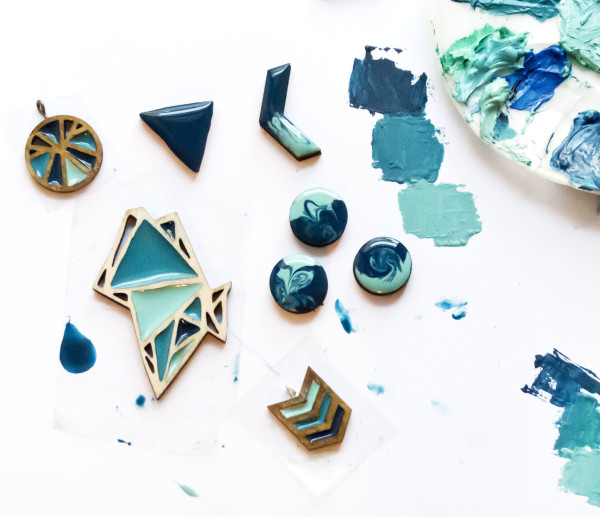 handmade jewellery, wood resin, geometric jewellery, dear george designs