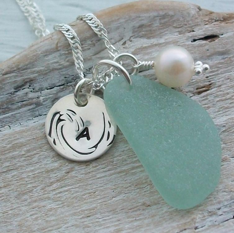 personalised sea glass jewellery, scottish