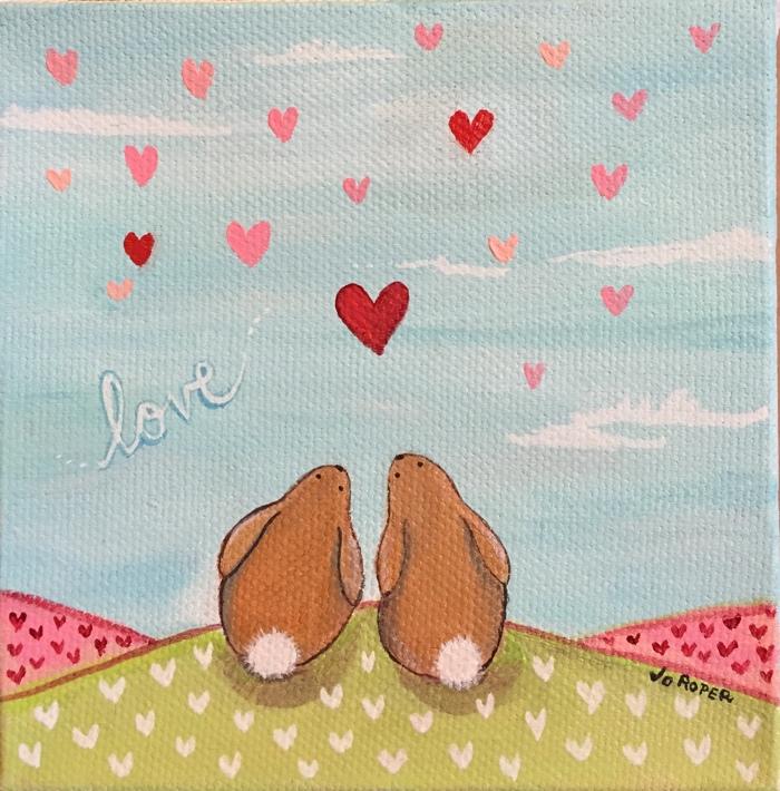 Jo Roper bunnies in love painting