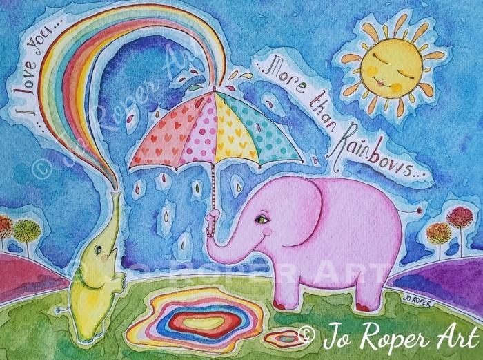 Mama Elephant print by Jo Roper